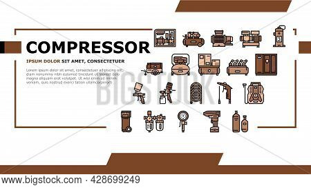 Air Compressor Tool Landing Web Page Header Banner Template Vector. Screw And Piston, Membrane And C