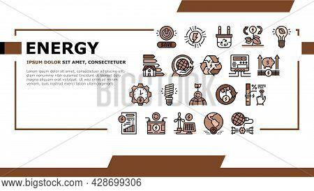 Energy Saving Tool Landing Web Page Header Banner Template Vector. Solar Panel And Electric Meter En