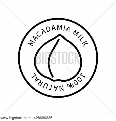 Icon Macadamia Line In A Simple Style. Natural Product Containing Milk. Vector Sign In A Simple Styl