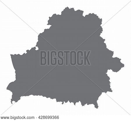 Belarus Silhouette Map Isolated On White Background
