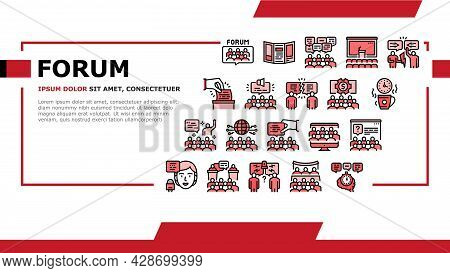 Forum People Meeting Landing Web Page Header Banner Template Vector. International And Business Onli