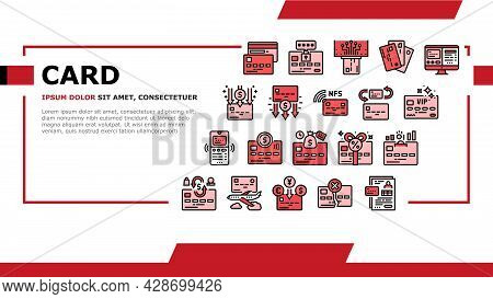 Plastic Card Payment Landing Web Page Header Banner Template Vector. Contactless Nfc System Credit C