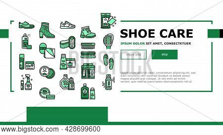 Shoe Care Accessories Landing Web Page Header Banner Template Vector. Leather And Velvet, Children A