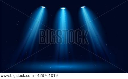 Glowing Spotlights On A Dark Blue Background. Vector Backdrop Illustration.