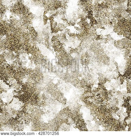 Seamless Repetitive Pattern Grunged Antique Gold Marble With Sparkles
