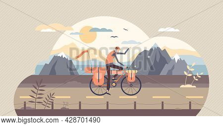 Bikepacking Active Leisure Activity With Bicycle Tiny Person Concept. Tourist On Bike On Nature Expl