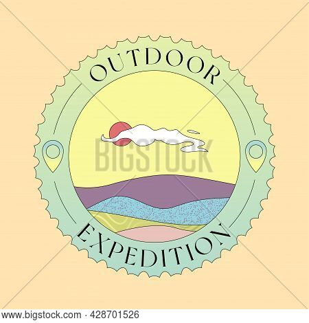 Outdoor Expedition Badge Design Isolated On Beige Background. Travel, Adventure, Explore, Vacation C