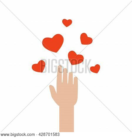 Hand Gove Or Catch Red Hearts. Worldwide On-line Help And Support Concept. Charity, Philanthropy, Fi