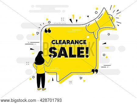 Clearance Sale Text. Alert Megaphone Chat Banner With User. Special Offer Price Sign. Advertising Di