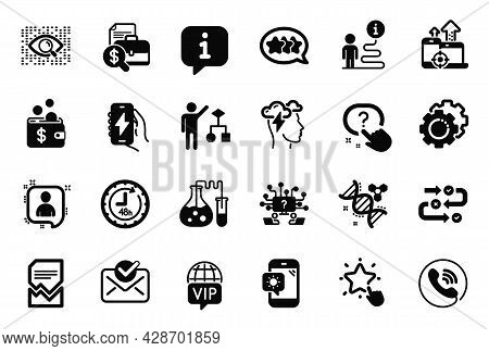 Vector Set Of Technology Icons Related To Chemistry Lab, Accounting Report And Settings Gears Icons.