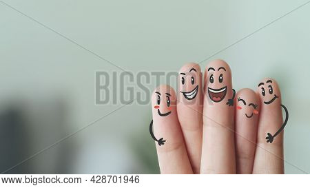 Fingers With Smile Face, Happy, Friendship, Family, Group, Teamwork, Community, Unity, Love Concept.
