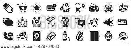 Set Of Technology Icons, Such As Augmented Reality, Cashback, Bitcoin Icons. E-mail, Talk Bubble, Sa