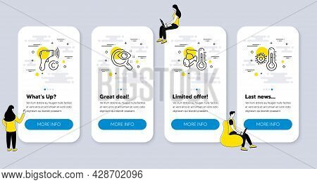 Set Of Medical Icons, Such As Electronic Thermometer, Vision Test, Sick Man Icons. Ui Phone App Scre