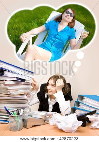 Young Secretary With A Lot Of Folders