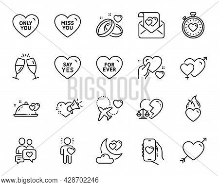Vector Set Of Love, Dating Chat And Say Yes Line Icons Set. Miss You, Divorce Lawyer And Love Letter