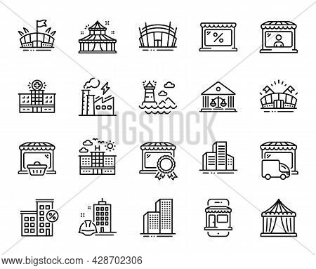 Vector Set Of Delivery Truck, Arena Stadium And Loan House Line Icons Set. Circus, Arena And Buildin