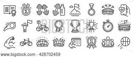 Set Of Sports Icons, Such As Fitness Calendar, Bicycle, Leadership Icons. Winner, Bicycle Parking, M