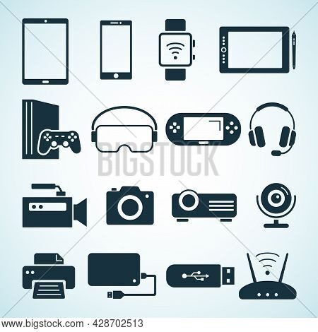 Digital Devices Flat Black Cons. Flat Icons Of Electorinc Devices. Smartphone, Tablet, Smartwatch, V