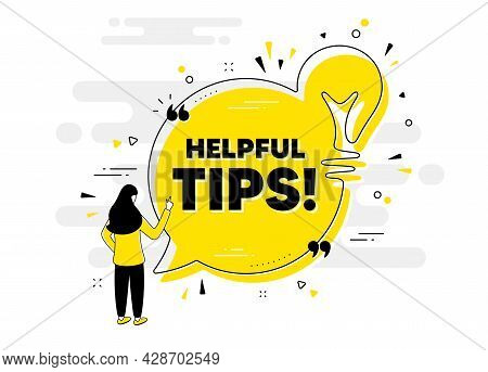 Helpful Tips Text. Idea Chat Bubble Banner With Person. Education Faq Sign. Help Assistance Symbol.