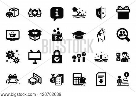 Vector Set Of Simple Icons Related To Customer Satisfaction, Uv Protection And Laureate Icons. Downl