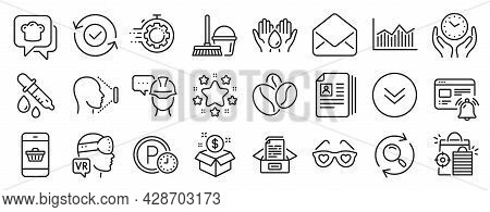 Set Of Line Icons, Such As Mail, Safe Water, Cooking Hat Icons. Chemistry Pipette, Seo Shopping, Sma