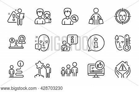 People Icons Set. Included Icon As Buyer, Video Conference, Search People Signs. Like Video, Star, F