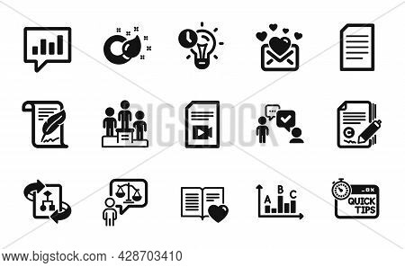 Vector Set Of Video File, Copywriting And Feather Icons Simple Set. Love Mail, Technical Algorithm A