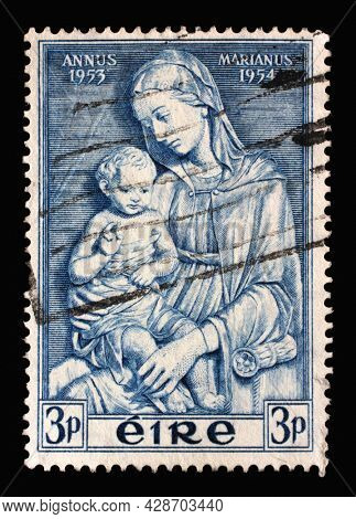 ZAGREB, CROATIA - SEPTEMBER 09, 2014: A stamp printed in Ireland shows Madonna by della Robbia, Marian Year, 1953-54, circa 1954