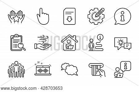 Technology Icons Set. Included Icon As Hand Click, Ranking, Work Home Signs. Idea Lamp, Search Analy