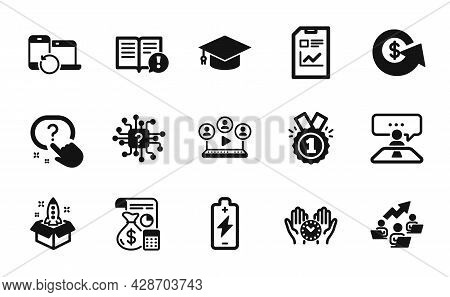 Vector Set Of Approved, Graduation Cap And Safe Time Icons Simple Set. Battery Charging, Video Confe