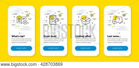 Vector Set Of Reject Book, Get Box And Megaphone Checklist Line Icons Set. Ui Phone App Screens With