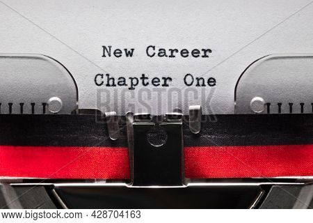 New career chapter one on typewriter concept for new job, fresh start, career change and employment opportunity