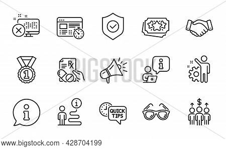Business Icons Set. Included Icon As Prescription Drugs, Loyalty Points, Best Rank Signs. Megaphone,