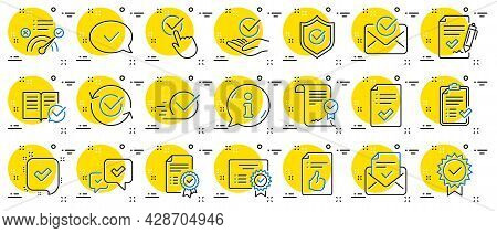 Approve Line Icons. Set Of Checklist, Certificate And Award Medal Icons. Certified Document, Accepte