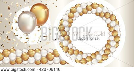 Garland Of Balloons. Seamless Garland Of Ballons. Decorative Wreath On White Background.