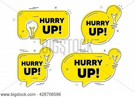 Hurry Up Sale. Idea Yellow Chat Bubbles. Special Offer Sign. Advertising Discounts Symbol. Hurry Up