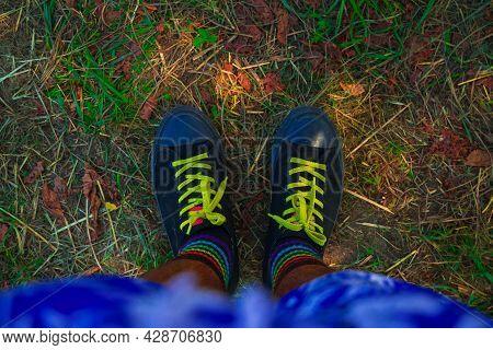 Black Sneakers Colorful Socks Informal Street Wear Male Feet Dirt Ground