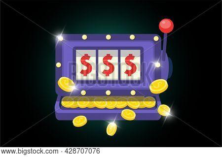 Slot Machine Symbol. Online Casino One-armed Bandit Icon On Dark Background. Jackpot Big Win Concept