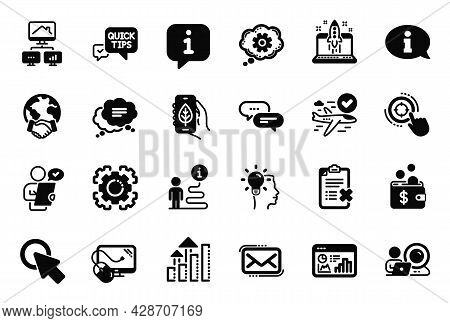 Vector Set Of Technology Icons Related To Computer Mouse, Global Business And Idea Icons. Video Conf