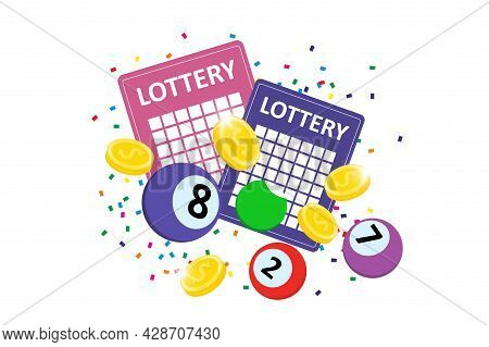 Bingo Lottery Sign Design. Colorful Balls, Lotto Tickets, Confetti And Jackpot Winner Money Coins. O