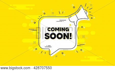 Coming Soon Text. Alert Megaphone Yellow Chat Banner. Promotion Banner Sign. New Product Release Sym