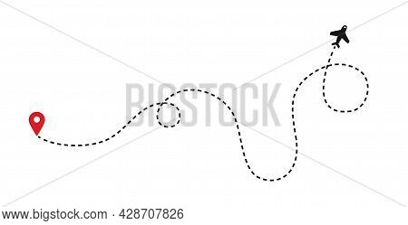 Planes. Line Of The Plane. Airplane Flight Path With Dash Line And Dash Line Trace. Vector