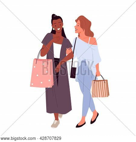 Stylish Girls Best Friends Shopping, Young Happy Characters Walking With Purchase In Bags