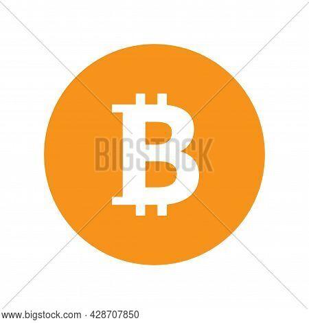 Bitcoin Orange Logo Icon In Circle. Cryptocurrency Btc Payment Symbol. Flat Style Illustration Isola