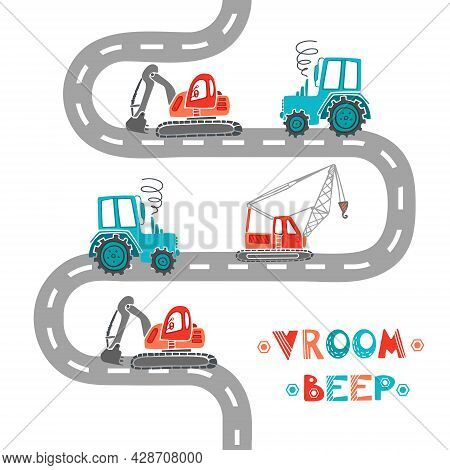 Childrens Construction Machinery Pattern. Cartoon Illustration Scandinavian Style. Transport Machine