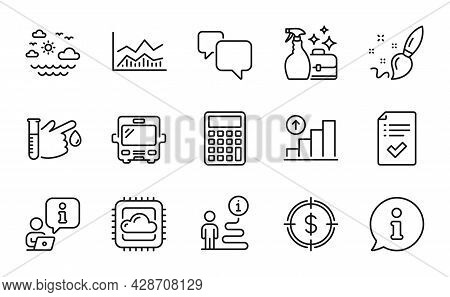 Business Icons Set. Included Icon As Approved Checklist, Trade Infochart, Dollar Target Signs. Speec