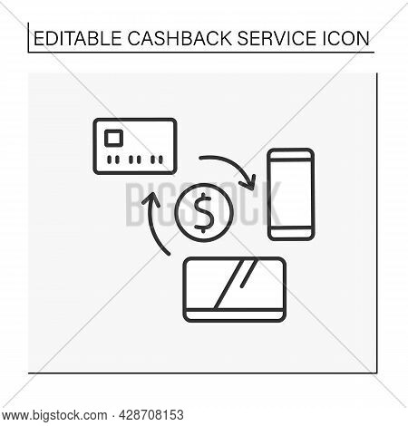 Purchase Line Icon. Electronic Goods.refund Small Percentage Of Money Into Credit Card After Purchas