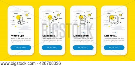Vector Set Of Crowdfunding, 3d App And Love Message Line Icons Set. Ui Phone App Screens With Line I