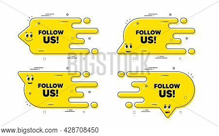 Follow Us Text. Cartoon Face Transition Chat Bubble. Special Offer Sign. Super Offer Symbol. Follow