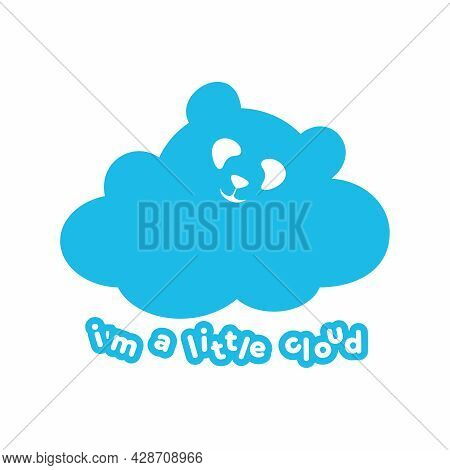 Vector Logo With A Cloud In The Form Of A Bear. Blue Cloud In The Form Of A Panda. Children's Illust